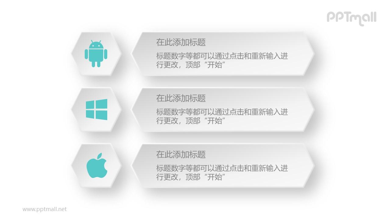 安卓微软iOS操作系统对比PPT模板图示下载