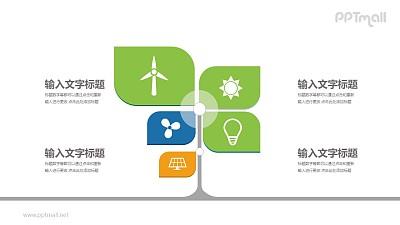 风车样式4部分文本说明PPT模板图示下载