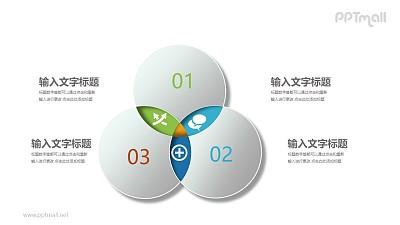 三个交叉的立体圆形文本说明PPT模板图示下载