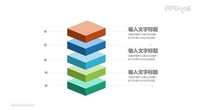 5个叠放的彩色方块并列关系PPT模板图示下载