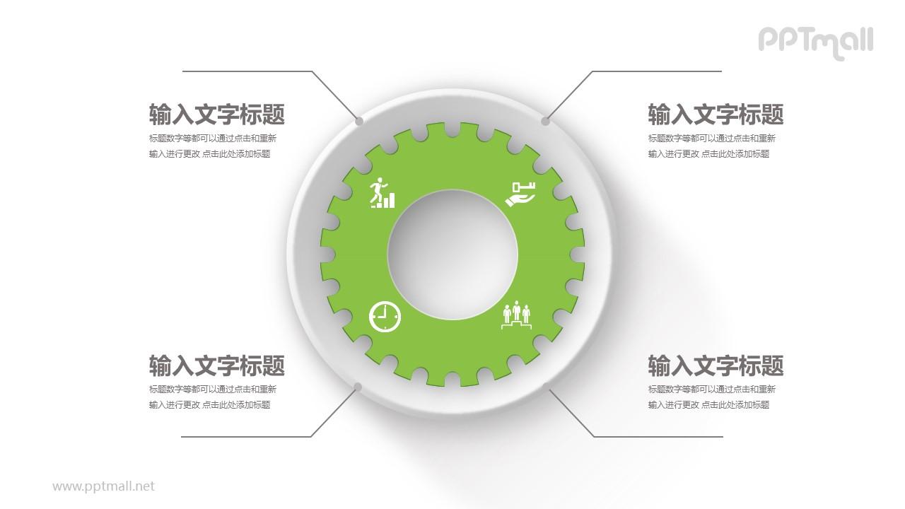 绿色的大齿轮总分关系PPT模板图示下载