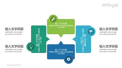 蓝绿色四个气泡框总分关系PPT模板图示下载