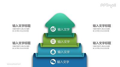 叠放的箭头社交媒体并列关系PPT模板图示下载