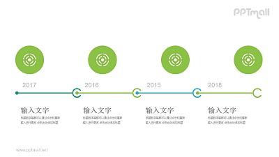 四个靶子时间轴递进关系PPT模板图示下载