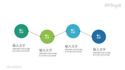 4个彩色的圆形并列关系目录导航PPT模板图示下载