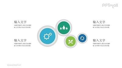 4个逐渐变小的圆形图标并列关系PPT模板图示下载