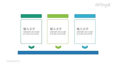3个带箭头的文本框并列关系PPT模板图示下载