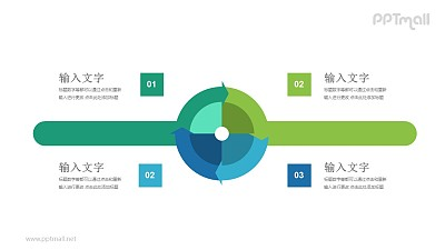循环的圆盘四部分并列关系PPT模板图示下载