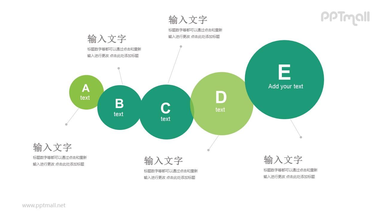 5个逐渐变大的圆形递进关系PPT模板图示下载