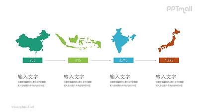 4个国家地图简画递进关系PPT模板图示下载