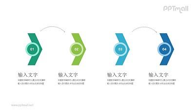 4个向右的箭头递进关系PPT模板图示下载