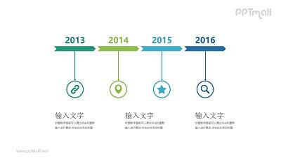 四个箭头首尾连接时间轴年度总结PPT模板图示下载