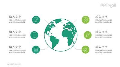 地球周围连接六个图标PPT模板图示下载