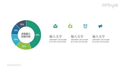 分为5部分的环形图百分比对比关系PPT模板图示下载
