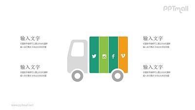 运输图标的卡车社交网络PPT模板图示下载