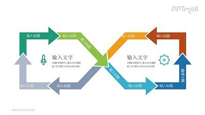 8字图案的交叉循环图PPT模板图示下载