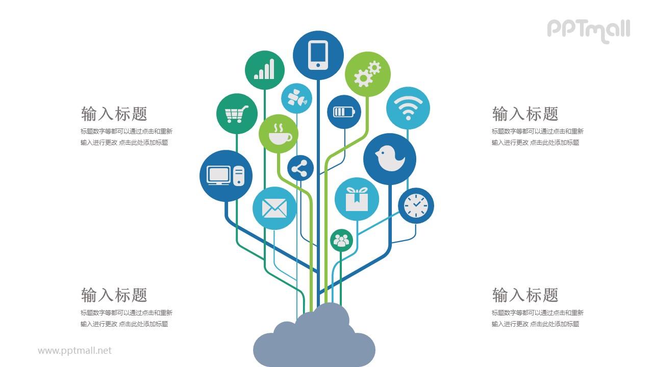 通讯云网络多种通讯图标PPT模板图示下载