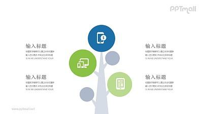 挂着腾讯图标的树PPT模板图示下载