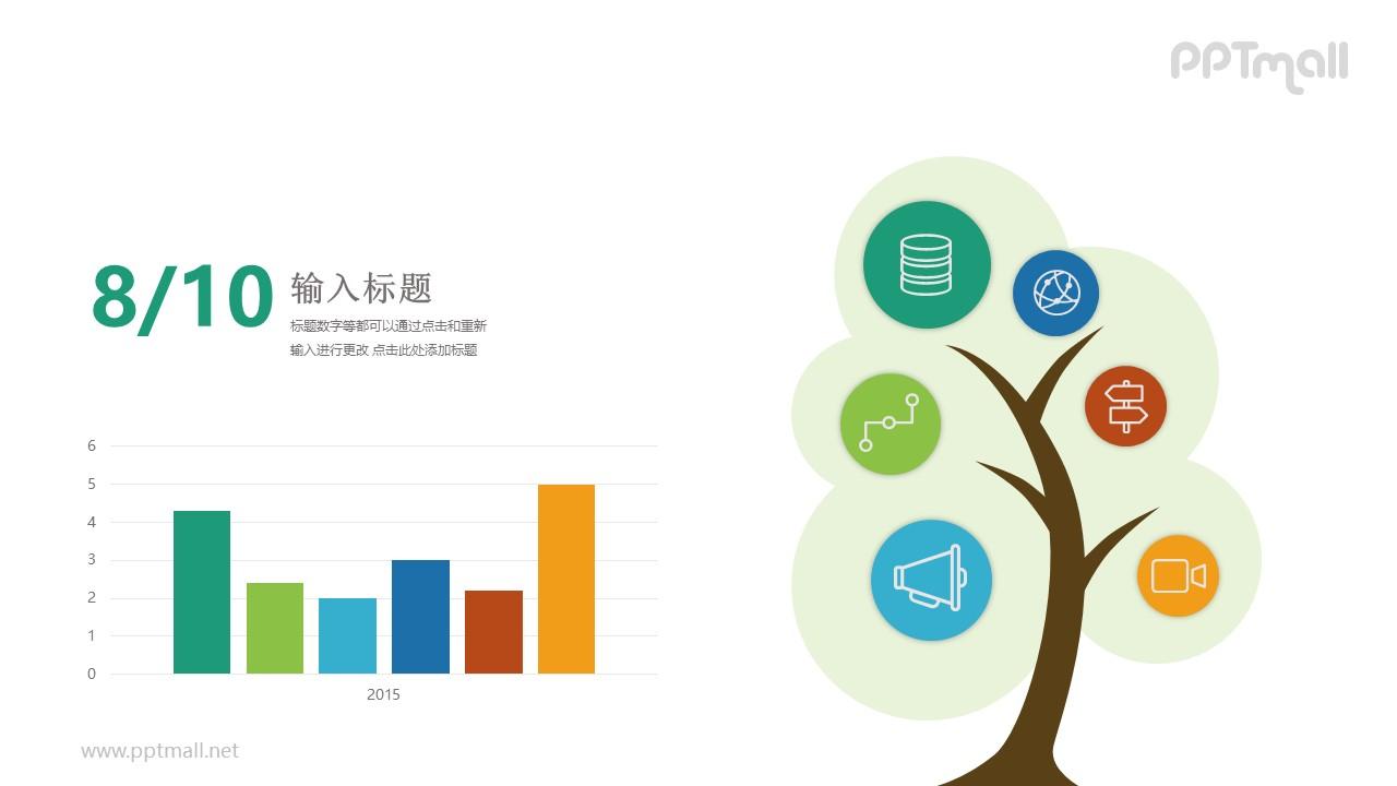左右排版柱状图多种元素对比关系PPT模板图示下载