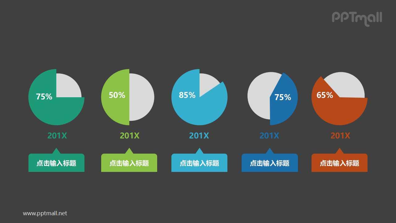 五个并列的百分比展示饼图PPT模板图示下载