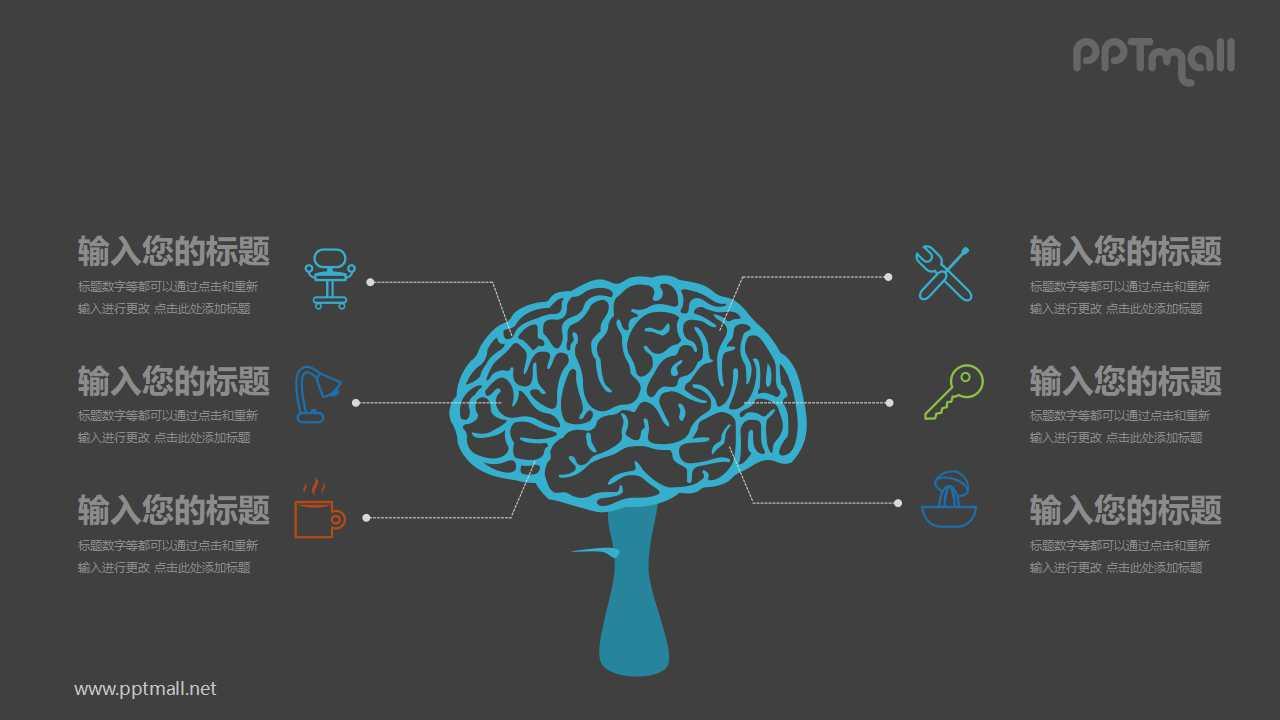 医学生物大脑思维知识点解析PPT模板图示下载