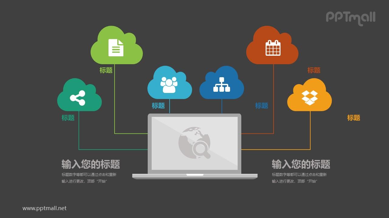 六个图标与电脑连接总分关系PPT模板图示下载