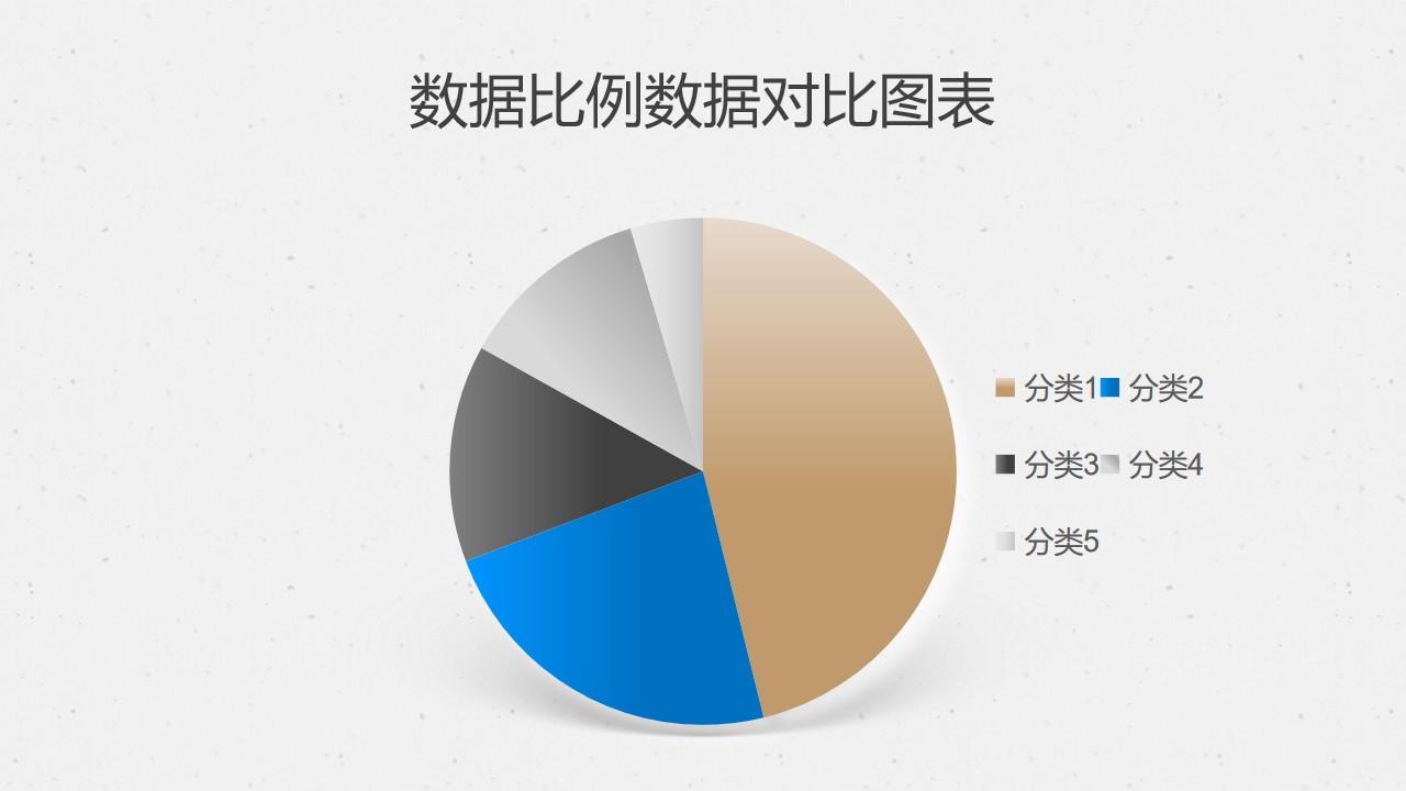 金属质感数据比例数据对比饼图PPT图表下载