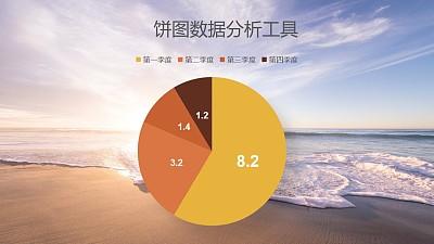 含背景四季度数据对比分析饼图PPT图表下载