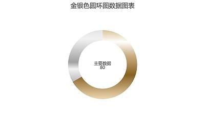 金银色圆环图数据PPT图表下载