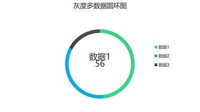 灰度多数据圆环图PPT图表下载