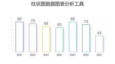 彩色简约柱状图数据分析PPT图表下载