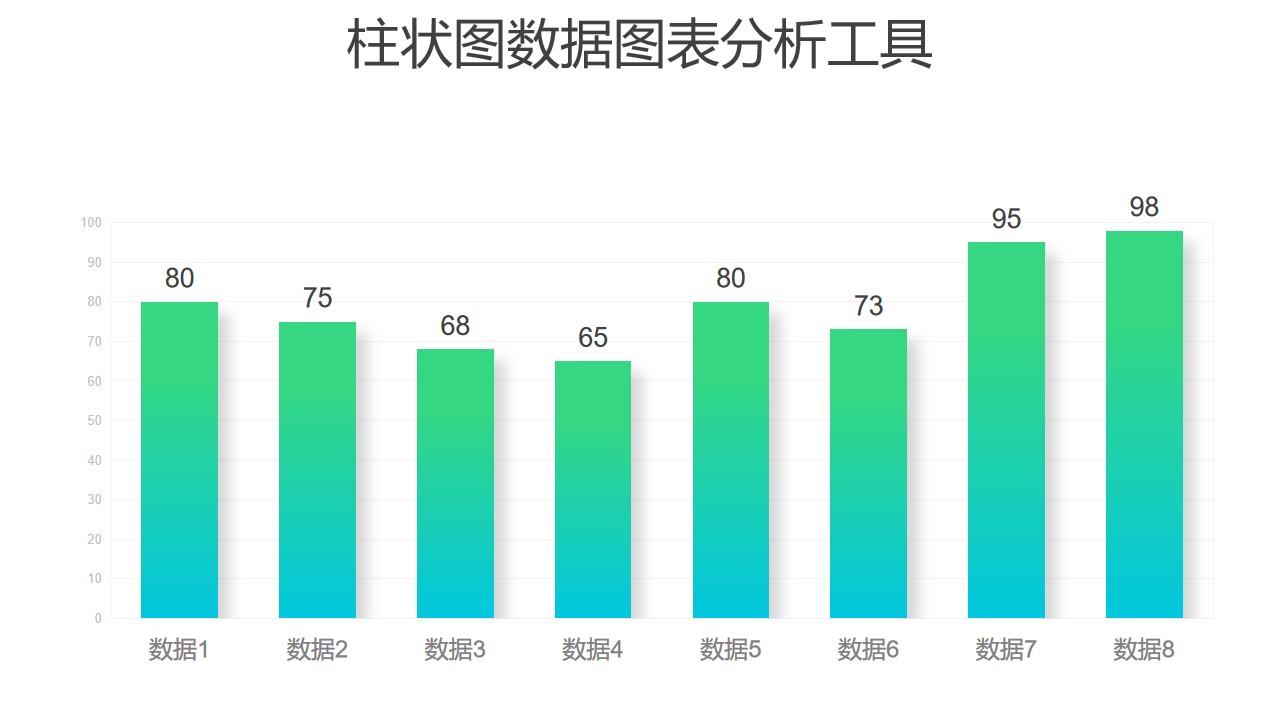 绿色渐变时尚柱状图数据分析PPT图表下载