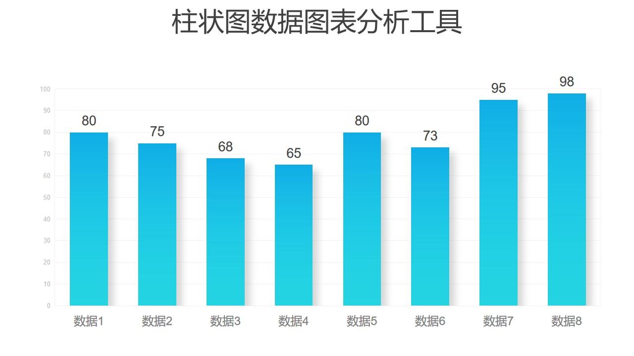 蓝色渐变时尚简约柱状图数据分析PPT图表下载