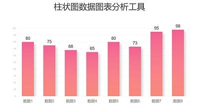粉色渐变时尚柱状图数据分析PPT图表下载
