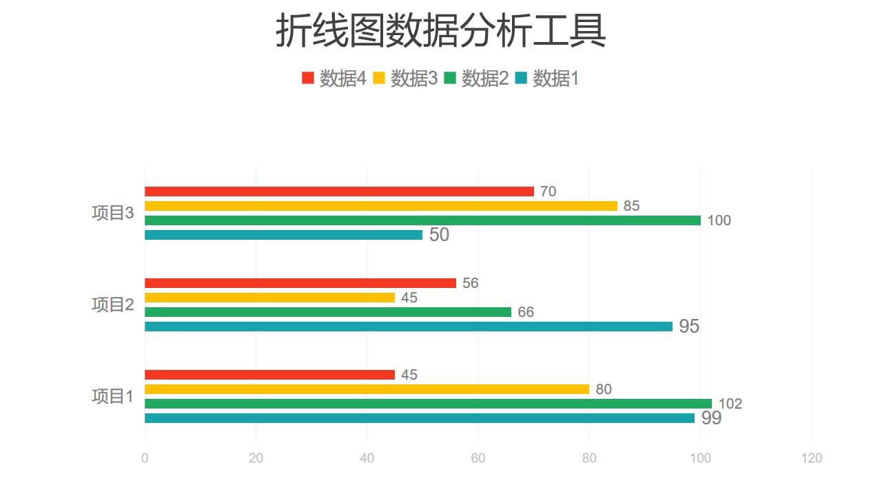 彩色条形图数据分析工具PPT图表下载