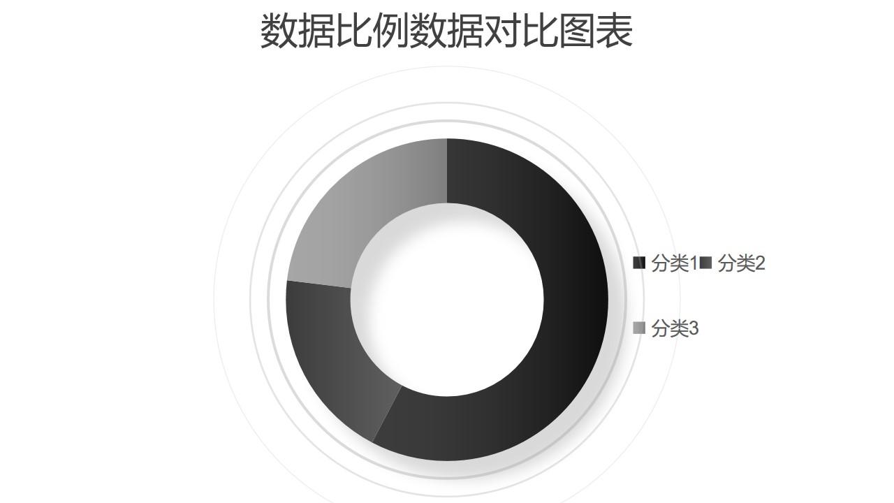 黑白简约圆环图数据分析工具PPT图表下载
