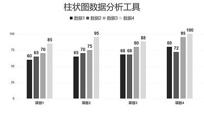黑白简约柱状图数据分析PPT图表下载