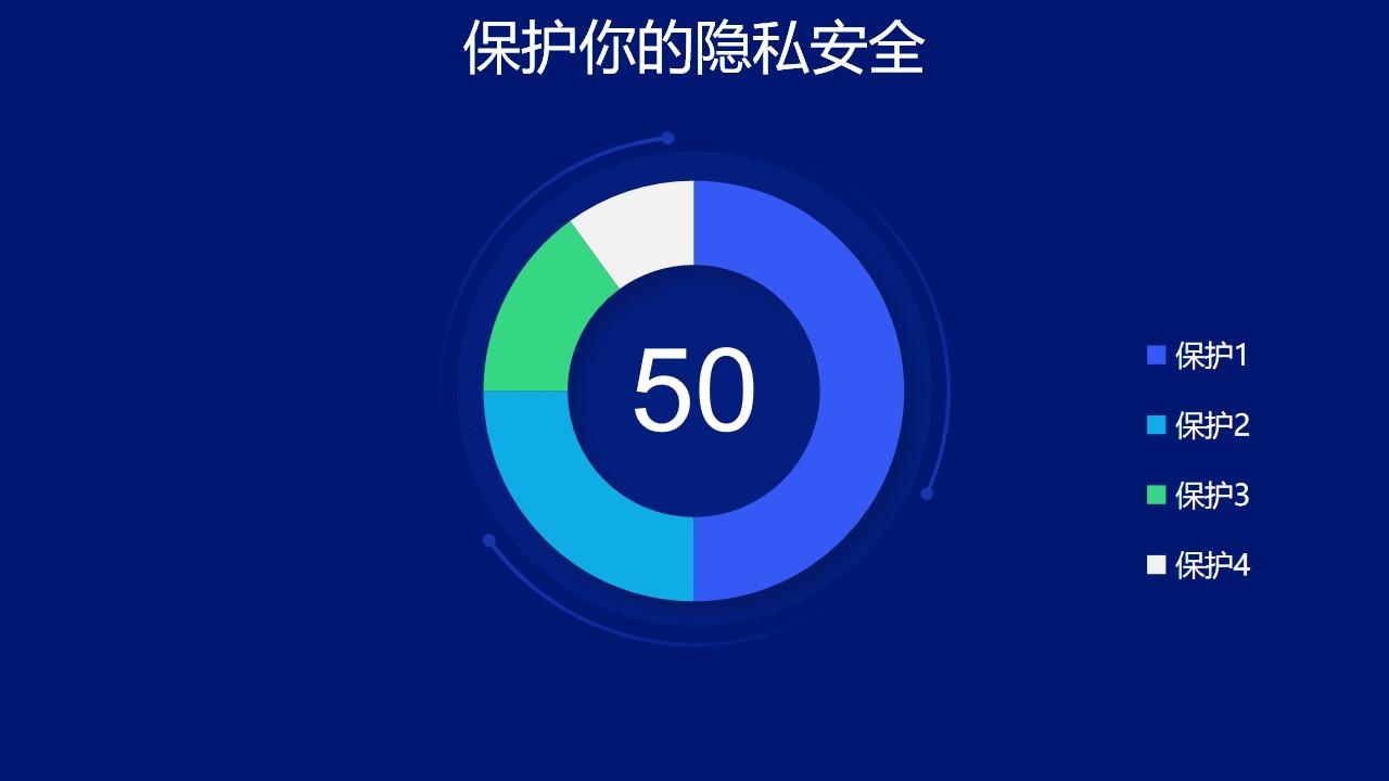 蓝色圆环图数据分析工具PPT图表下载