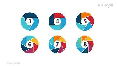六个彩色空心圆并列关系逻辑图