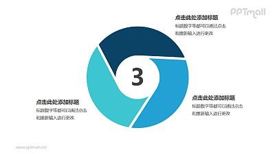 蓝色三部分循环关系逻辑图标