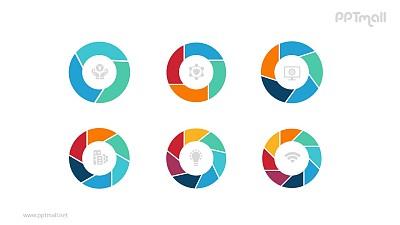 六个彩色的空心圆并列关系逻辑图