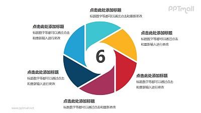 彩色六部分空心圆循环关系逻辑图标