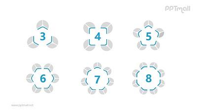 6个蓝灰色饼图并列关系逻辑图