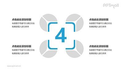 4个蓝灰色饼图并列关系逻辑图
