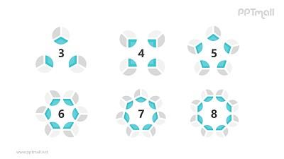 6组蓝灰色饼图并列关系逻辑图PPT模板
