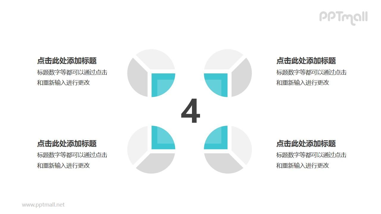 4个灰绿色饼图并列关系逻辑图PPT模板