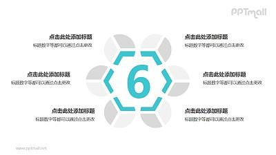6个灰绿色拼图循环关系逻辑图PPT模板