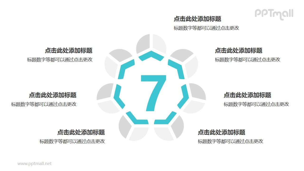 7个灰绿色拼图循环关系逻辑图PPT模板