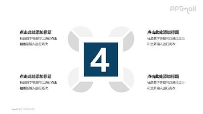 4个扇形图围绕四边形并列关系逻辑图PPT模板