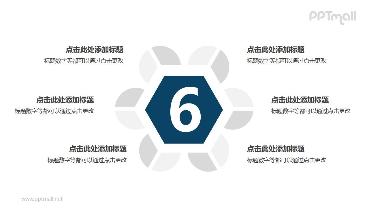 6个扇形图围绕六边形并列关系逻辑图PPT模板